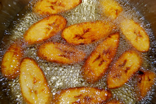 Plantains frying