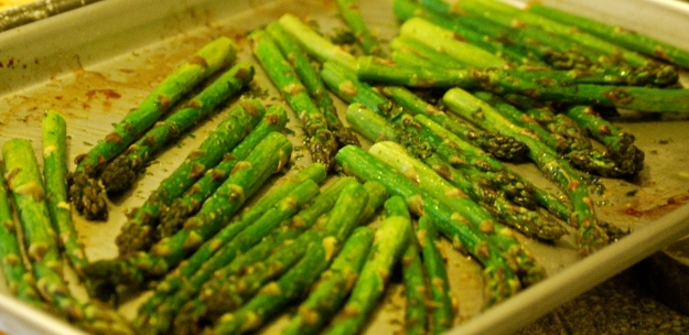 Asparagus smothered in herb butter