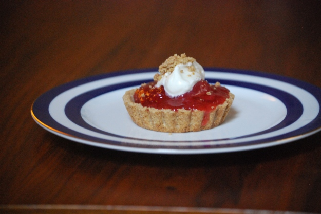 Strawberry Rhubarb Oat Tartlet with Whipped Cream and Oat crumbles