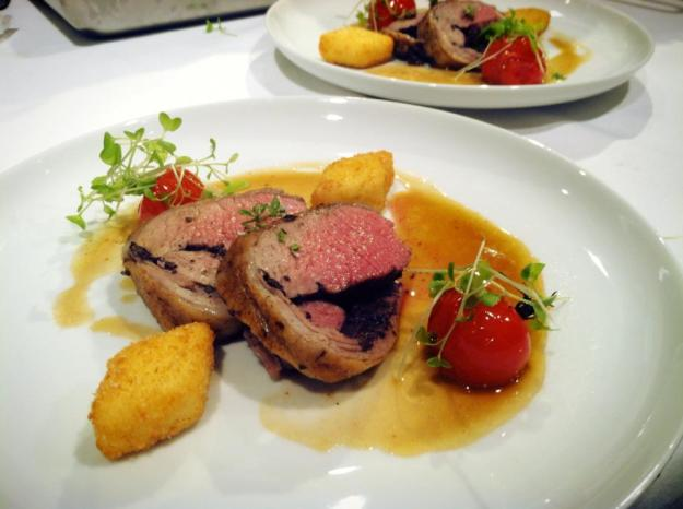 Eric Trochon's Kalamata Olive stuffed lamb loin, roasted tomatoes, and polenta croquettes