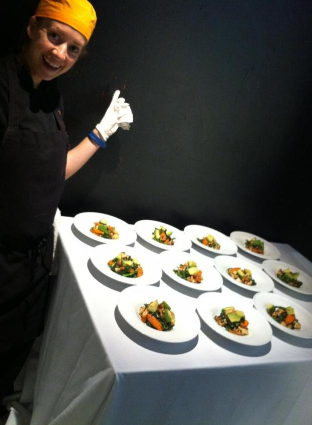 Plating with Chef Laura Merrick! She is a dream to work with.