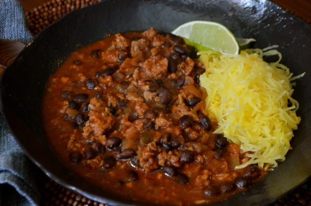 Turkey Chili with Spaghetti Squash
