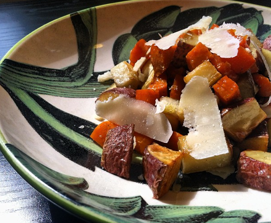 Roasted root vegetables with shards of parmesan